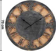 Uhr Kyra in Schwarz/ Natur ca.Ø70cm
