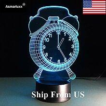 Uhr Lampe 3D visuelle LED Nachtlicht für Kinder