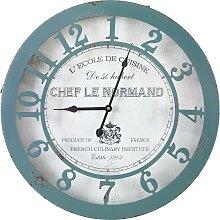 Uhr Normandie in Blau/ Weiss ca.Ø50cm