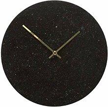 Uhr, Wanduhr aus schwarzem Marmor und goldenen