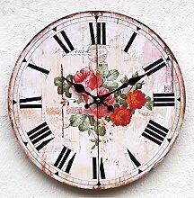 Uhr Wanduhr Küchenuhr weiß Landhaus CE Rose