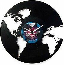 Uhr Welt Geschenkidee, Schwarz, Marke Vinyluse
