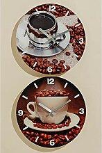 *Uhren Landhaus Wanduhr Kaffee Motiv Espresso, Glas