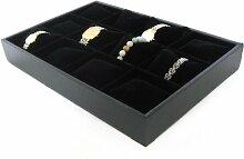 Uhrenkaste Schaukasten Samtkissen für 12 Uhren schwarz