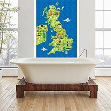 UK Karte Wandbild Wahrzeichen Tiere Foto-Tapete Kinderzimmer Wohnkultur Erhältlich in 8 Größen Klein Digital