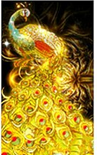 Ukerdo DIY Golden Pfau Diamant Malerei Mauer Kunst Bilder Haushalt Dekoration