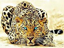 Ukerdo DIY Handgefertigt Diamant Malerei Leopard Mauer Bilder Haushalt Dekoration