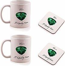 Ukgiftbox Tasse und Untersetzer Geschenk-Set, Smaragd-Hochzeit, zum 55. Hochzeitstag, für Sie und Ihn, 2Stück