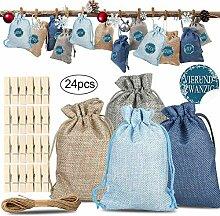UKKO Weihnachts Adventskalender 24 Taschen