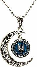 Ukraine Anhänger Schmuck Glas Cabochon Halskette