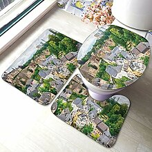 Uliykon Badteppich-Set mit schönen Städten,