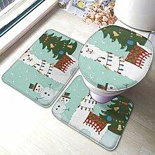 Uliykon Badteppich-Set mit Weihnachtsbaum und