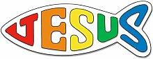 Uljö °° Fischaufkleber groß, 17 cm, bunt Jesus