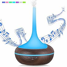 Ultraschall Aroma Wesentlich Öl Diffusor Cool Nebel Luftbefeuchter mit intelligentem Einstellbar Nebel Modus und Bluetooth Sprecher, Wasserlose Automatische Abschaltung und 7-Farben LED-Leuchten, für Büro Zuhause Schönheit Yoga Spa