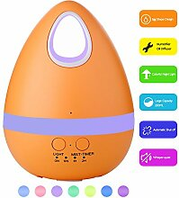 Ultrasonic Cool Mist Humidifier Aroma Diffuser,YCTA 300ML Essential Aromatherapy Oil Diffuser with 7 Color LED Night Light,Waterless Auto Shut-off Diffuser for Home Office Yoga Spa (Aroma-egg orange)