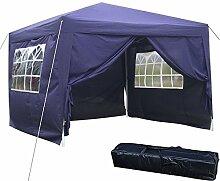 ULTREY Gartenpavillon 3 x 3 m Faltpavillon Wasserdicht Faltbar mit 4 Seitenteilen für Party Festzelt Camping Festival-Zelt Gartenmöbel