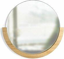 Umbra 358778-390 Mira Mirror, Wandspiegel mit halbem Holzrahmen, Natur