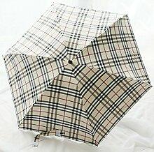 Umbrella-Quadrat-Karo-undurchsichtiges Vinyl-Sonnenschutz-Telefon-Regenschirm Fünf Falte-ultra-heller sonniger Regenschirm-Doppeleinsatz-Frau ( Farbe : #2 )