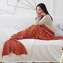 Umeicool Meerjungfrau Decke häkeln Handbuch weich Waage Kesselstein Vier Jahreszeiten Schlafsack Decken Für Kinder oder Erwachsene (Rot)