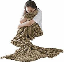 Umeicool Meerjungfrau Decke häkeln Handbuch weich Waage Kesselstein Vier Jahreszeiten Schlafsack Decken Für Kinder oder Erwachsene (Braun)