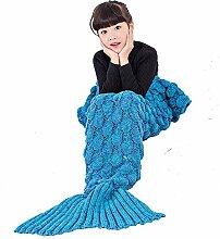Umeicool Meerjungfrau Decke häkeln Handbuch weich Waage Kesselstein Vier Jahreszeiten Schlafsack Decken Für Kinder oder Erwachsene (Blaue Kinder)