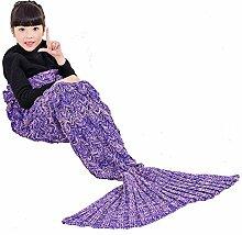 Umeicool Meerjungfrau Decke häkeln Handbuch weich Waage Kesselstein Vier Jahreszeiten Schlafsack Decken Für Kinder oder Erwachsene (Lila Kinder)