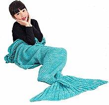 Umeicool Meerjungfrau Decke häkeln Vier Jahreszeiten Meerjungfrau Schlafsack Decken Für Kinder oder Erwachsene (27.56*55.12inch, Grüne Kinder)