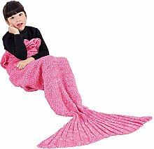 Umeicool Meerjungfrau Decke häkeln Vier Jahreszeiten Meerjungfrau Schlafsack Decken Für Kinder oder Erwachsene (27.56*55.12inch, Rosa Kinder)