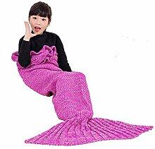 Umeicool Meerjungfrau Decke häkeln Vier Jahreszeiten Meerjungfrau Schlafsack Decken Für Kinder oder Erwachsene (27.56*55.12inch, Rose Red Kinder)