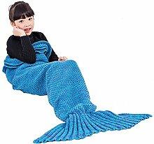 Umeicool Meerjungfrau Decke häkeln Vier Jahreszeiten Meerjungfrau Schlafsack Decken Für Kinder oder Erwachsene (27.56*55.12inch, Blaue Kinder)
