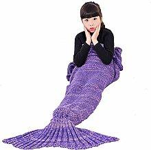 Umeicool Meerjungfrau Decke häkeln Vier Jahreszeiten Meerjungfrau Schlafsack Decken Für Kinder oder Erwachsene (27.56*55.12inch, Lila Kinder)