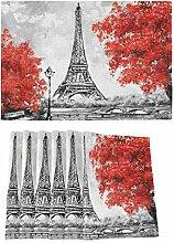 UMIRIKO Platzsets Eiffelturm für Esstisch, rote