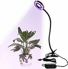 Umiwe Led Grow Light Clip Pflanze Lampe mit Flexiblen Schwanenhals [Einstellbar 3 Modi & 2 Level Dimmable] für Indoor Pflanzen Hydroponic Garten Gewächshaus (9W)