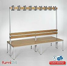 Umkleidebank Sitzbank doppelseitig mit Garderobenhaken und Schuhrost 200 cm x 170 cm x 85 cm