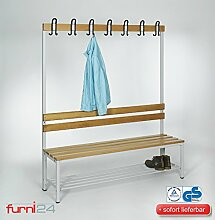 Umkleidebank Sitzbank einseitig mit Garderobenhaken 150 cm x 170 cm x 43 cm