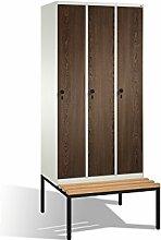 Umkleidespind Evolo mit Sitzbank, 3 Abteile,