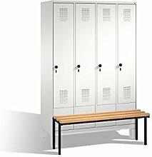 Umkleidespind Evolo mit Sitzbank, 4 Abteile,