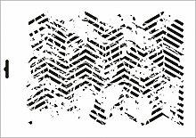 UMR-Design W-287 Vintage Zigzag Wand / Textilschablone Grösse A3