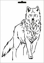 UMR-Design W-635 Wolf Wand / Textilschablone Grösse A3