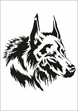 UMR-Design W-647 Wolf Wand / Textilschablone Grösse A3