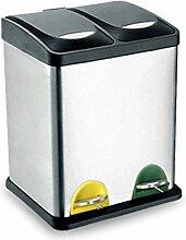 Umwelt-Klassifizierung Mülleimer, Edelstahl Fuß Küche Wohnzimmer Abfall-Recycling-Fässer, Doppel-Fässer, drei Fässer ( Größe : 30l )