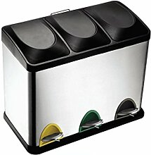 Umwelt-Klassifizierung Mülleimer, Edelstahl Fuß Küche Wohnzimmer Abfall-Recycling-Fässer, Doppel-Fässer, drei Fässer ( Größe : 45l )
