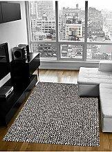 un Amour von Teppich 13788Monza 1Teppich Moderne wolle schwarz/weiß, Wolle, schwarz, 140 x 200 cm