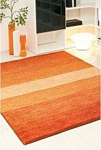 un Amour von Teppich 13805Baku Stripe Teppich Moderne wolle Terra/braun, Wolle, braun, 140 x 200 cm