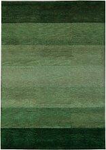 un Amour von Teppich 13828Baku Stripe Teppich Moderne wolle Grün, Wolle, grün, 140 x 200 cm