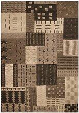 un Amour von Teppich 17883Corboda Patch Teppich Moderne wolle braun/schokolade, Wolle, braun, 120 x 180 cm