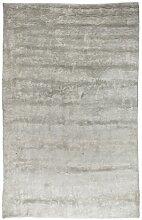 un Amour von Teppich 20071Look 430Uni Teppich natur für Wohnzimmer moderne Seide grau, grau, 200 x 300 cm