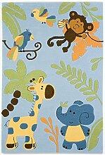 un Amour von Teppich 21578Jungle Teppich für Kinder Acryl Blau, Acryl, blau, 200 x 300 cm