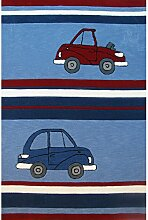 un Amour von Teppich 21610Cars Teppich für Kinder Acryl Blau, Acryl, blau, 140 x 200 cm