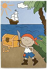 un Amour von Teppich 21620Pirat Teppich für Kinder Acryl Blau, Acryl, blau, 120 x 180 cm